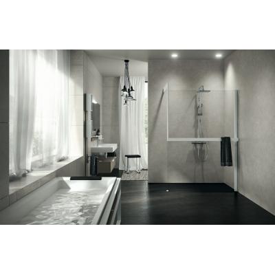 Novellini FRAME+KUADRA  душевая перегородка свободный вход   97*100 см, стекло прозрачное, профиль черный.