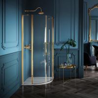 Samo Eterna Dolce Vita душевая кабина угловая 90*90 см. стекло прозрачное, профиль золото 24K