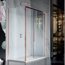 Samo Duomo DolceVita душевая кабина угловая 120*90 см. стекло прозрачное, профиль брозна