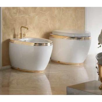 AeT Oval биде напольное S542 цвет белый/декор золото