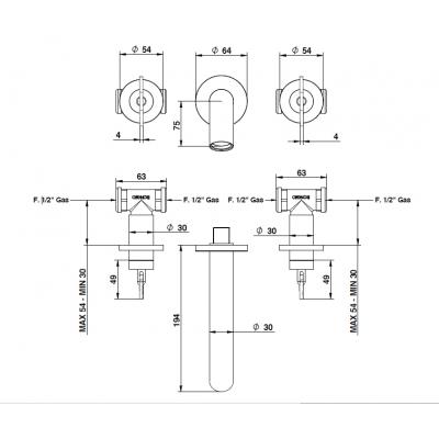 Bongio Acquacarica Смеситель для раковины настенный 63540CRCR