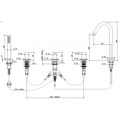 Bongio Aqua Смеситель для ванны на борт 40531/DR
