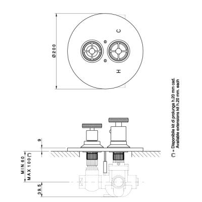 Nicolazzi Thermostatic Смеситель для душа настенный 4909CR44+4910
