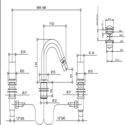 Bongio Aqua Смеситель для биде на изделие 40503/R
