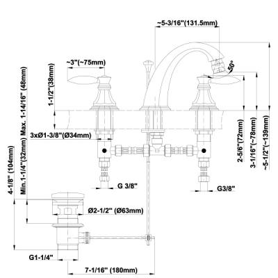 Graff Topaz Смеситель для биде 3-х элементный на изделие 2367600
