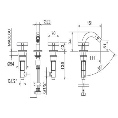 LaTorre Crosstech смеситель для биде на изделие 12013