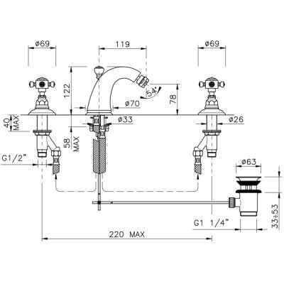 Nicolazzi Le Pietre смеситель для биде на изделие 2115CR09