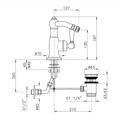Nicolazzi Traditional-single-lever Смеситель для биде на изделие 3404CR75