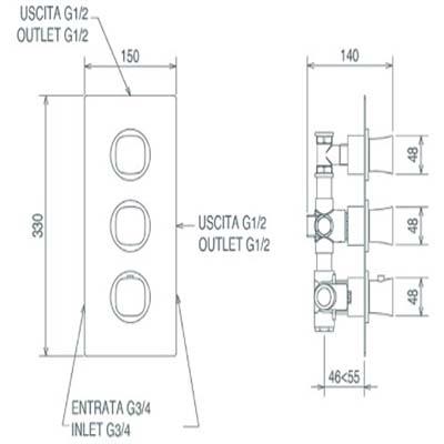 LaTorre Laghi Смеситель-термостат для душа настенный 44950 M2