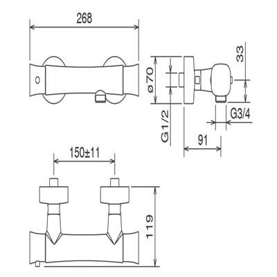 LaTorre Laghi Смеситель для душа термостат настенный 44930