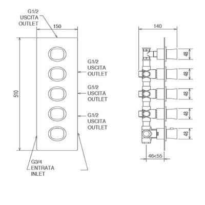 LaTorre Laghi Смеситель-термостат для душа настенный 44950 M4
