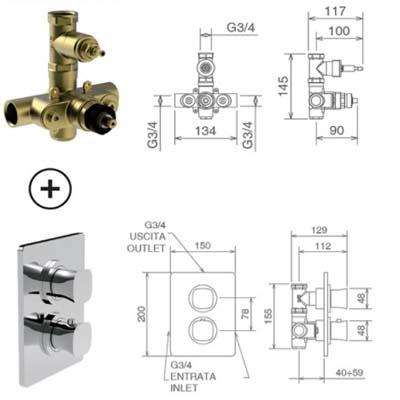 LaTorre Laghi Смеситель-термостат для душа настенный 44950
