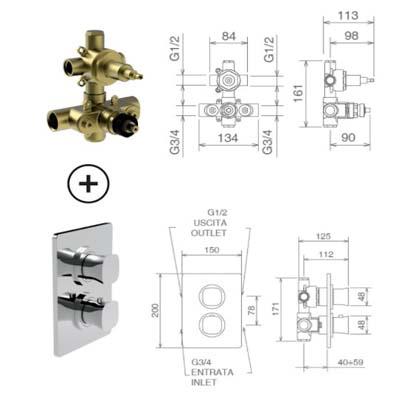 LaTorre Laghi Смеситель-термостат для душа настенный 44950 R2