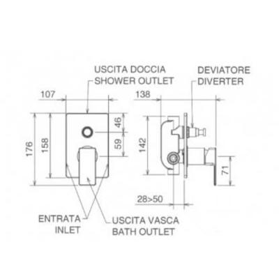 LaTorre Profili Смеситель для душа встроенный с переключателем 45050 R