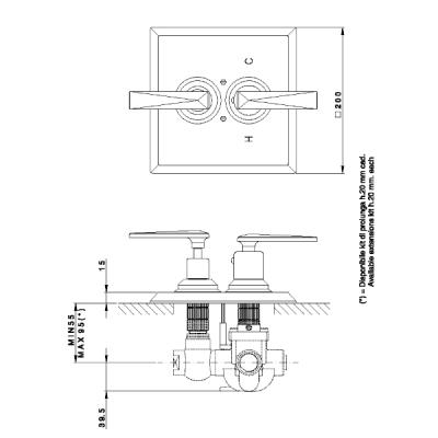 Nicolazzi Thermostatic Смеситель для душа настенный 4909CR28+4910