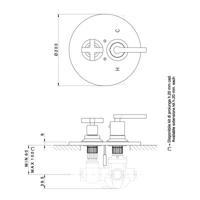 Nicolazzi Thermostatic Смеситель для душа настенный 4909CR27+4910