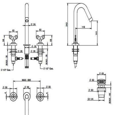 Bongio Acquacarica Смеситель для раковины на изделие 63501CRPR