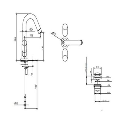 Bongio Aqua Смеситель для раковины на изделие 40521B/G