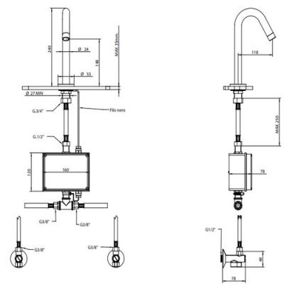 Bongio Electronic Сенсорный смеситель для раковины на изделие 30501/EL