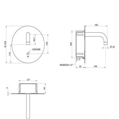 Bongio Electronic Сенсорный смеситель для раковины настенный 46992/EL
