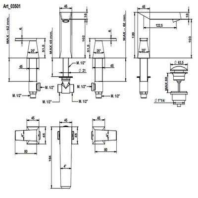 Bongio Stelth Смеситель для раковины на изделие 03501