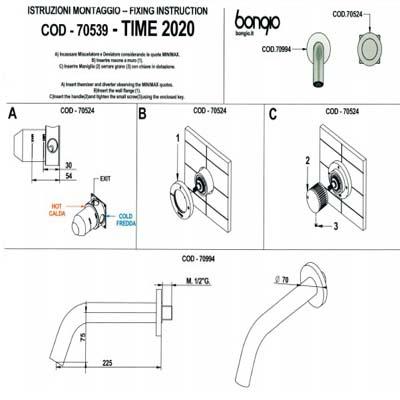 Bongio Time2020 Смеситель для раковины настенный 70539AS00