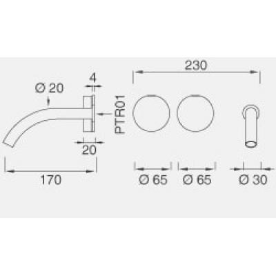 CeaDesign Giotto смеситель для раковины настенный Gio11