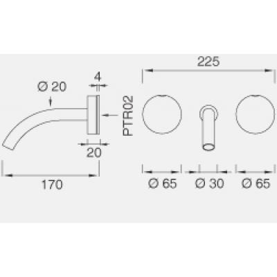 CeaDesign Giotto смеситель для раковины настенный Gio14
