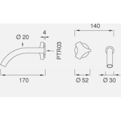 CeaDesign Ziqq смеситель для раковины настенный Ziq30