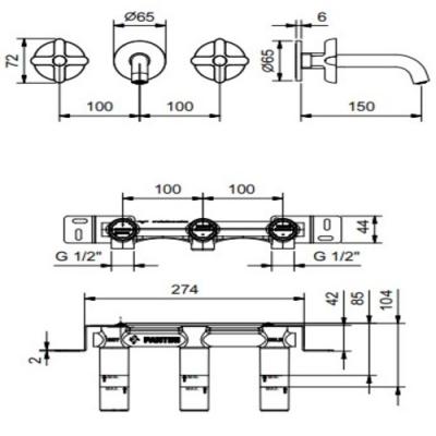 Fantini Icona Classic Смеситель для раковины настенный R010B+44 00 R010A