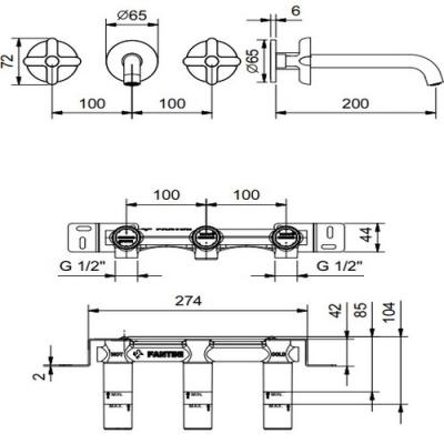 Fantini Icona Classic Смеситель для раковины настенный R013B+44 00 R010A цвет хром