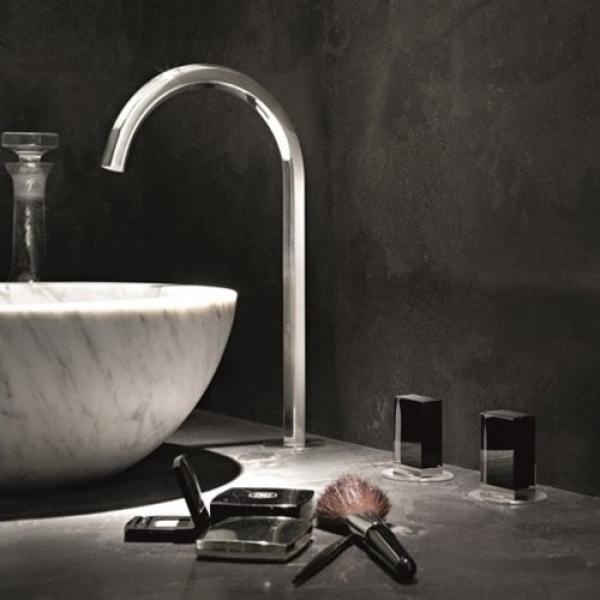 Fantini Venezia Смеситель для раковины на изделие N405SW цвет хром +ручки мурано черные