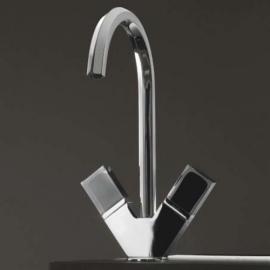 Fantini Venezia Смеситель для раковины на изделие N456SF цвет хром +ручки мурано черные