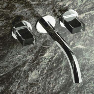 Fantini Venezia Смеситель для раковины настенный N413SB+19 00 5913A цвет хром+ручки мурано ччерные