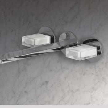 Fantini Venezia Смеситель для раковины настенный N513SB+19 00 5913A цвет хром +ручки мурано белые
