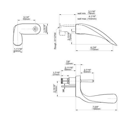 Graff Ametis Смеситель для умывальника настенный - механическая версия 5102500