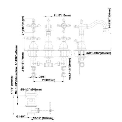 Graff Canterbury Смеситель для раковины на 3 отверстия 2375300