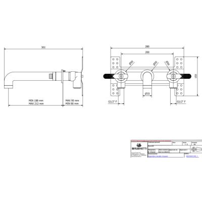 IB Rubinetterie Bold Lever смеситель для раковины настенный KB2306