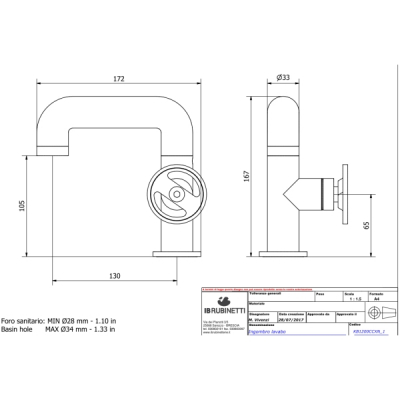 IB Rubinetterie Bold Round Смеситель для раковины на изделие KB1200