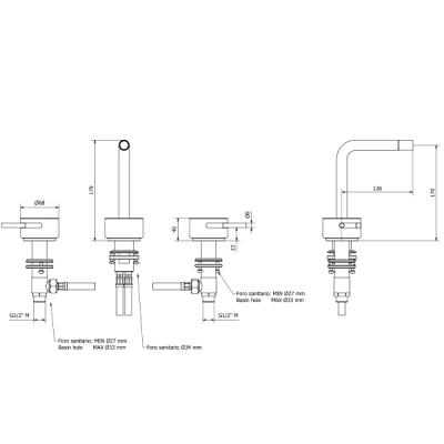 IB Rubinetterie Marmo L Смеситель для раковины на 3 отверстия MM393_1