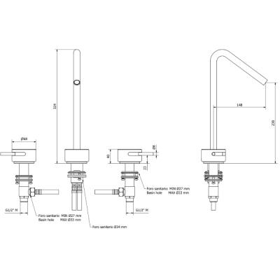 IB Rubinetterie Marmo Смеситель для раковины на 3 отверстия MR390_1