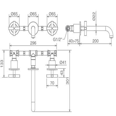 LaTorre Crosstech cмеситель для раковины настенный 12283