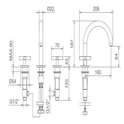 LaTorre Crosstech Cмеситель для раковины на изделие 12803