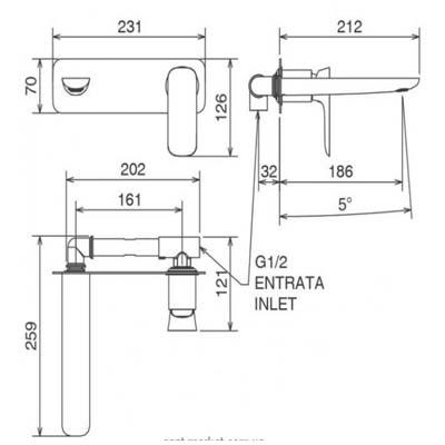 LaTorre Laghi Смеситель для раковины настенный 44200