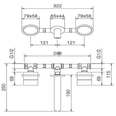 LaTorre Ovaline Смеситель для раковины настенный 26283
