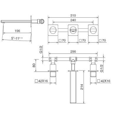 LaTorre Profili Смеситель для раковины настенный 45280 JA