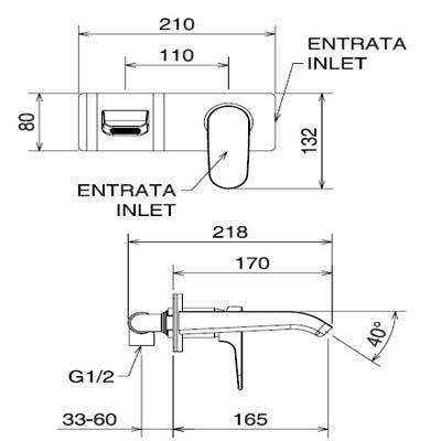 LaTorre Woda Cмеситель для раковины настенный 37200