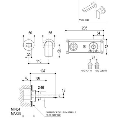Ritmonio Mistery смеситель для раковины настенный X0BAB013SPSX