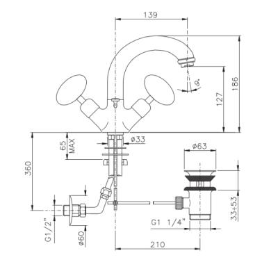 Nicolazzi Cristallo di Rocca смеситель для раковины на изделие 2132CR09C