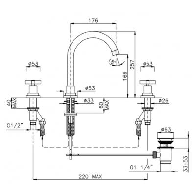 Nicolazzi Mac Kinley 05 Смеситель для раковины на изделие 2208CR29